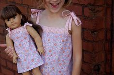 American Girl Dolls : Popover Sundress and Doll Dress Sewing Kids Clothes, Ag Doll Clothes, Sewing Dolls, Sewing For Kids, Sewing Patterns Free, Free Sewing, Free Pattern, Sundress Pattern, Doll Dress Patterns