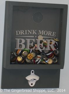 Awesome Gifts for Guys:  Drink More Beer Bottle Cap Opener and Holder by Gingerbread Engraved @ Etsy