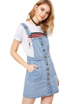 Shop Button Front Overall Denim Dress online. SHEIN offers Button Front Overall Denim Dress & more to fit your fashionable needs. Only Fashion, Blue Fashion, Fashion News, Fashion Online, Denim Fashion, Fashion Styles, Dress Fashion, Fashion Fashion, Vintage Fashion