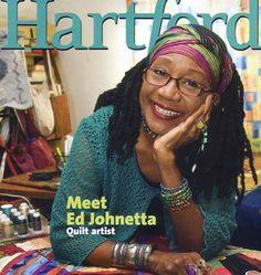 Ed Johnetta Miller, quilt artist, curator, teacher, collage designer, author, on the cover of Hartford magazine