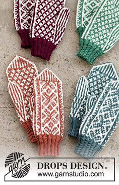 Knitted Mittens Pattern, Knit Mittens, Mitten Gloves, Knitted Hats, Knitting Charts, Knitting Patterns Free, Free Knitting, Knitting Socks, Drops Design