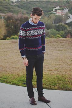 Men's Navy Fair Isle Crew-neck Sweater, Black Chinos, Light Blue Longsleeve Shirt, and Burgundy Leather Oxford Shoes Fair Isle Pullover, Charcoal Dress, Charcoal Suit, Style Masculin, Casual Outfits, Men Casual, Casual Menswear, Casual Wear, Black Chinos