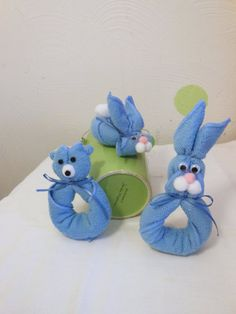 Baby shower   favors. bunny favor. Blue  hand  by RomanticFlower, $14.00
