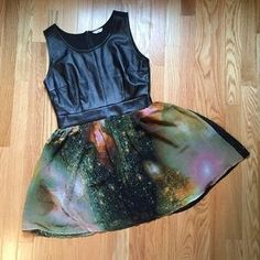 Selling this on Poshmark: TOBI Astro dress with Vegan leather bodice.. Check it out! Price: $24 Size: S