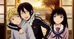 noragami screencaps Yukine, Yato, and Hiyori