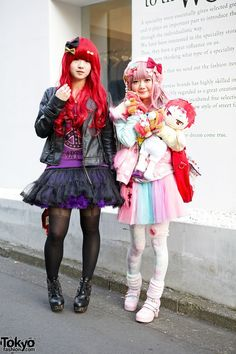 Mepura and Hirato are a couple of friends with cute style who we recently ran into in Harajuku. (Tokyo Fashion, 2014)