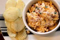 Loaded Potato Dip - this is a SUPER easy appetizer that's so tasty!  Serve at your New Year's Eve parties or football parties.