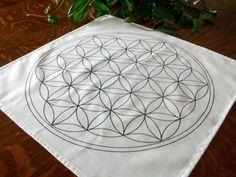 20x20 Flower of Life Black Line Grid Cloth Template Crystal