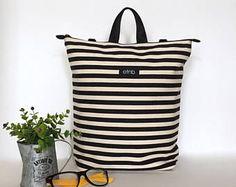 Convertible bag, Convertible backpack, Striped bag, Minimal bag, Canvas bag, Canvas backpack, Shoulder bag, Minimalist Print, Striped - Kyle