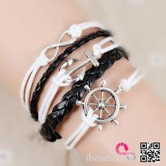 friendship bracelet,Rudder bracelet,infinity bracelet,anchor bracelet,Karma bracelet, white wax rope,black woven leather. IB296 [IB296] - $4.29 : Wholesale Beads and Jewelry Making Supplies - ibead.cc
