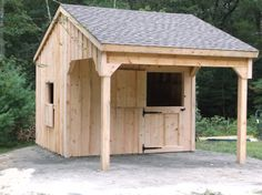 It is a single stall horse barn but would be excellent for a chicken coop just enclose the front area completely.