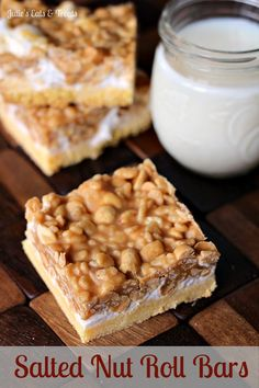 Make your own homemade Salted Nut Roll Bars! This dessert recipe starts with a cake batter bottom, then is topped with gooey marshmallows, peanuts and a peanut butter mixture for a delicious dessert recipe. They are soft, chewy and buttery and oh so good! Just Desserts, Delicious Desserts, Yummy Food, Dessert Healthy, Salted Nut Rolls, Salted Nut Bars, Salted Nut Roll Bar Recipe, Nut Goodie Bars Recipe, Frito Bars Recipe