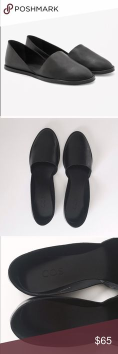 COS D'orsay Leather Flats in Black EUC 38 EXCELLENT CONDITION 38 Black Leather Flat COS Shoes Flats & Loafers