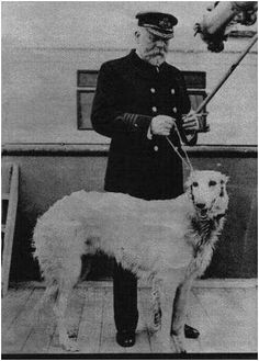 Captain Edward Smith on the Olympic with his beloved Borzoi. Most think that this was taken aboard Titanic but. His dog was not on board Titanic when she sank. Rms Titanic, Titanic History, Titanic Wreck, Titanic Photos, Titanic Sinking, Titanic Movie, Nagasaki, Hiroshima, Fukushima