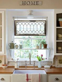 Idea for decorating a window without curtains. tidbits&twine.com