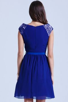 Blue Floral Overlay Fit and Flare Dress