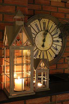 vintage vignette lanterns and clock •♥´¯`•♥´¯`♥• .