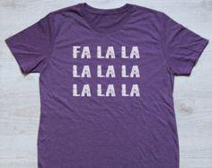 Christmas tee Fa la la la la tee t-shirt shirt adult unisex tri-blend vintage Christmas gift winter carols tshirt heather aubergine purple