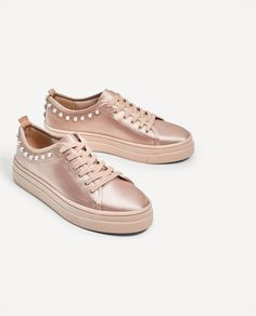 Image 1 of SATIN SNEAKERS WITH PEARLS from Zara