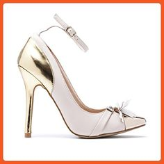 MACHI Womens BIRCH Nude PU Pointed Metallic Cap Toe and Heel Pump 9 - Pumps for women (*Amazon Partner-Link)
