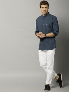 French Connection Navy Blue Cotton Printed Slim Fit Casual Shirt