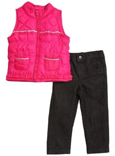 Young Hearts Baby Girls 2 Piece Pink Puffy Vest Dark Wash Jeans Pants Set * Check out this great product.