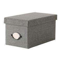 KVARNVIK Box with lid - grey, 16x29x15 cm  - IKEA