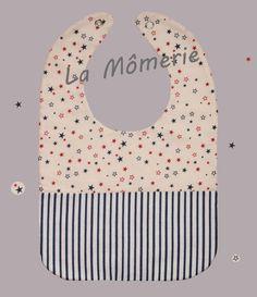 Bavoir bébé écru à étoiles et rayures marines : Mode Bébé par la-momerie