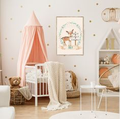 Gold armchair and ladder in pastel girly bedroom interior with canopied white crib. more similar stock images Nursery Wall Decals, Nursery Room, Nursery Decor, Wall Vinyl, Vinyl Decals, Wall Decor, Themed Nursery, Wall Art, Girl Room