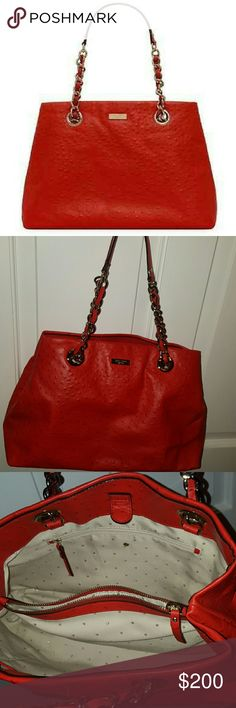 """Kate Spade Maryanne Red Ostrich bag Victoria Falls SPICE RED Maryanne handbag  Lux Ostrich Embossed Cowhide with matching trim  lovely preowned , light wear, only carried a few times  $528 Retail  Kate Spade Victoria Falls Maryanne Ostrich embossed cowhide with matching trim over the shoulder with open top interior tab with magnetic strap  Color is a rich red """"Spice""""  Signature Kate Spade gold plated hardware  Two shoulder straps with matching gold chain and leather with a 9.5"""" strap drop  4…"""