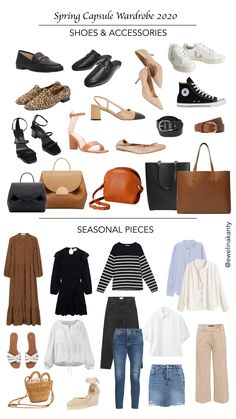 Spring Capsule Wardrobe - Shoes, Accessories and Seasonal Pieces - Spring Capsule Wardrobe – Shoes, Accessories and Seasonal Pieces Source by kantyewelina - Parisian Wardrobe, New Wardrobe, Fall Capsule Wardrobe, Capsule Outfits, Minimalist Wardrobe, Minimalist Fashion, Autumn Winter Fashion, Dressing, Fashion Skirts