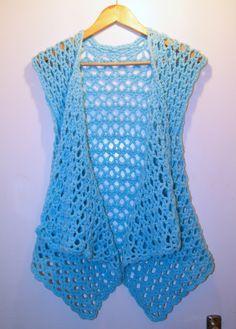 Sky blue crochet mesh waistcoat - hot off my hook! Crochet Vest Pattern, Baby Knitting Patterns, Crochet Shawl, Free Crochet, Knit Crochet, Crochet Patterns, Crochet Waistcoat, Crochet Woman, Crochet For Beginners