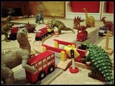 Eats Amazing -#dinovember day 3 - the dinosaurs have fun with trains and cars!