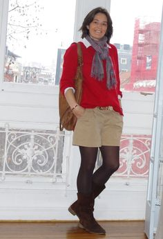 Look 12  #fashion #style #outfit  #look , Zara in Sweaters, Old Navy in Shorts, Koike Barcelona in Scarves / Echarpes, Trucco in Bags, Coast in Boots, Calzedonia in Socks / Tights
