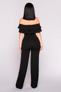 Ready To Ruffle Jumpsuit - Black – Fashion Nova Ruffle Jumpsuit, Jumpsuit Outfit, Casual Jumpsuit, Black Jumpsuit, Romper Pants, Fashion Nova Jumpsuit, Mode Outfits, Fashion Outfits, Classy Work Outfits