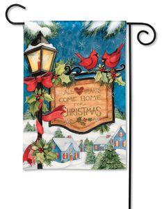 Hometown Christmas House Flag - x - BreezeArt Christmas Garden Flag, Christmas Lamp, 1st Christmas, Christmas Holidays, Holiday Themes, Christmas Themes, Holiday Crafts, Garden Flag Stand, Garden Flags