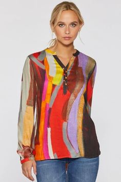 Mood Swing Whimsical Blouse by Claire Desjardins. #clairedesjardins #clairedesjardinsart #ClaireDesjardinsApparel #DesignerJacket #JeanJacket #cami #WomensApparel #WearableArt #designerclothing #apparel #designerapparel #artandfashion #fashionandclothing #artonclothing #abstractart #abstractpainting #designerclothes #womensapparel #Tunic #Dress #Jacket #MotoJacket #WomensTop