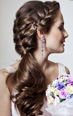 Websalon Weddings long braided wedding hairstyle - Deer Pearl Flowers…