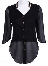 Black Metal Embellished Contrast Chiffon Blouse $77.96 on Sale for $45.37