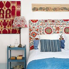New year, new projects! Looking for suzani headboard inspo & @susandeliss's bedroom at her French home is everything! #bedroom #headboard #upholstery #suzani #bedroomdecor #ikat #textiles #fabric #vintage #houseandgarden #homesweethome #interiordesign #interior #interiordesigner #interiorstyling #antique #photography #architecture #pillow #rustic #colour #inspiration #pattern #newyear #eyreinteriors