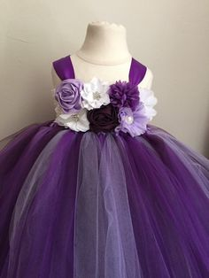 Purple lavender and plum tulle flower girl dress by AnaBeanDesigns
