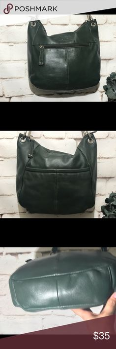 d8f9fe568f7d92 Stone Mountain Green Leather Shoulder Bag EUC Stone Mountain Green Leather  Bag Beautiful green leather bag