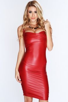Burgundy Faux Leather Sexy Clubwear Dress.  For a cosmopolitan-chic look, partner this fab frock with cobalt peep toes, a wide faux-leather belt, and a studded clutch.  To buy, visit us at http://shrsl.com/?~4zi6  $29.99
