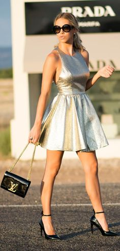 Gold And Black Skater Dress Outfit Idea by Kier Couture