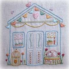 wonky shed sampler for stitching by LiliPopo on Etsy