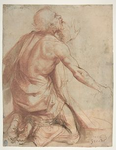 Nosadella (Giovanni Francesco Bezzi), c.1549-1571, Italian, (attributed to), Kneeling Bearded Old Man (recto).  Red chalk, pen and brown ink with brush and brown and red wash, highlighted with a little white (recto); 22.8 x 17.6cm.  Metropolitan Museum of Art, New York.  Mannerism.
