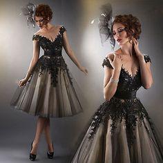 Custom Cap Sleeve Short Tea Length Lace Wedding Dress Gown Ball Evening Gown