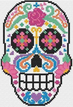 Discover thousands of images about PDF Sugar Skull Dia de Los Muertos Cross by LupineLaneDesign Crochet Skull, Pixel Crochet, Crochet Chart, Bead Loom Patterns, Crochet Patterns, Cross Stitching, Cross Stitch Embroidery, Cross Stitch Designs, Cross Stitch Patterns