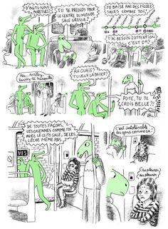 """Projet Crocodiles Histoires de """"crocodiles"""" ou en d'autres termes petits récits de harcelement sexuel ou des derives sexuelles qu'endurent les femmes, dessine par Thomas Mathieu"""