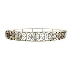 Victorian Style 14K White & Yellow Gold Diamond Bangle Bracelet, c. 1950. $2900